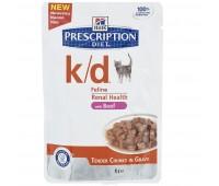 Hill's вет.консервы паучи K/D для кошек при лечении почек (кусочки в соусе), K/D Feline говядина 85гр