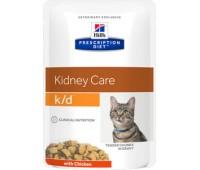 Hill's вет.консервы паучи K/D для кошек при лечении почек (кусочки в соусе), K/D Feline  кура 85гр