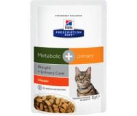 Hill's™ Prescription Diet вет.консервы паучи для взрослых кошек для коррекции веса и лечения мочекаменной болезни, Metabolic + Urinary Feline 85гр