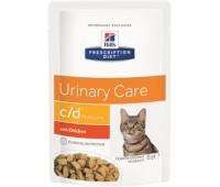 Hill's вет.консервы паучи C/D для кошек при профилактике МКБ (кусочки в соусе), c/d Multicare Feline кура 85гр
