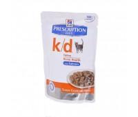 Hill's вет.консервы паучи K/D для кошек при лечении почек (кусочки в соусе), K/D Feline лосось 85гр